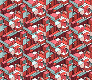 Vector Seamless Isometric Blocks Cubic City Composition Pattern in Pink and Blue Stock Photography