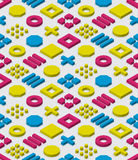 Vector Seamless Isometric Blocks Grid In Cyan Magenta and Yellow Colors Geometric Pattern Royalty Free Stock Image