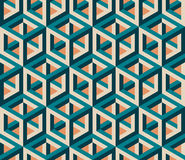 Vector Seamless Isometric Hexagonal Cube Structure  Vintage Pattern Royalty Free Stock Images