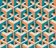 Vector Seamless Isometric Hexagonal Cube Structure  Vintage Pattern in Pink and Teal Royalty Free Stock Image