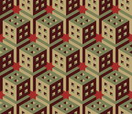 Vector Seamless Isometric Hexagonal Cube Structure  Vintage Pattern in Red and Green Royalty Free Stock Image