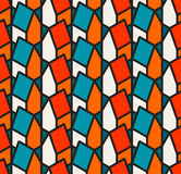 Vector Seamless Isometric Houses Pattern In Teal White and Orange With Black Outlines Royalty Free Stock Image