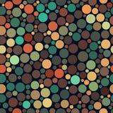 Vector Seamless Jumble Multicolor Brown Teal Orange Tones Random Circles Pattern Royalty Free Stock Images