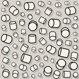 Vector Seamless Jumble Rotating Random Scale Cylinder Pattern Stock Photo
