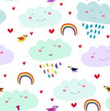 Vector seamless kawaii cartoon cute pattern with smiling clouds, rainbow, hearts,colorful birds on the white background. vector illustration