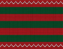 Vector seamless  knitted background with green and red stripes a. Nd white wavy pattern as border Stock Photo
