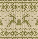 Vector Seamless Knitted Pattern with Deers Stock Photo