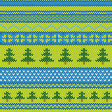 Vector seamless knitted pattern with pine Royalty Free Stock Photos