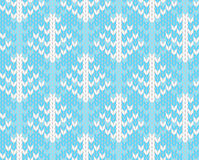 Vector seamless knitted pattern with trees Royalty Free Stock Images
