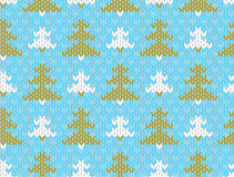Vector seamless knitted pattern with trees Stock Image