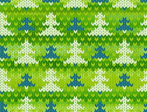 Vector seamless knitted pattern with trees Royalty Free Stock Photo