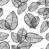 Vector seamless leaves pattern. Black white background made with watercolor, ink and marker. Trendy scandinavian design. Vector seamless outline leaves pattern stock illustration