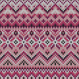 Vector seamless lilac ornament on knitted texture Stock Photography