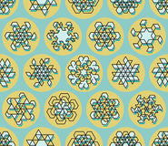 Vector Seamless Line Art Stroke Offset Geometric Teal  Snowflake Shape on Yellow Circle Background Stock Photography