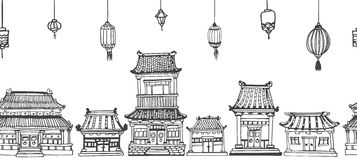 Vector seamless line panorama of asian old town. Vector seamless line black and white panorama of asian old town with oriental architecture and festive lanterns Stock Photo
