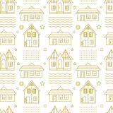 Vector seamless linear pattern with building and abstract elements. Vector background. Vector seamless linear pattern with building and abstract elements Royalty Free Stock Photography