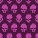 Vector Seamless Looped Pattern with Skulls. In magenta vector illustration