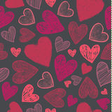 Vector seamless love pattern with hand drawn sketch hearts. Red  on dark background, use as fabric, Stock Image