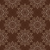 Vector Seamless Mandala Pattern over dark brown Royalty Free Stock Photo
