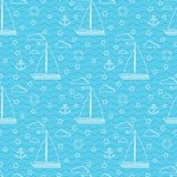 Vector seamless marine pattern with two sails sailboat, clouds, anchor, lifebuoy royalty free illustration