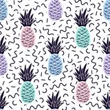 Vector seamless memphis pattern with pineapples. Vector colorful geometric seamless memphis pattern with pineapples. Summer backrgound royalty free illustration
