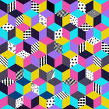 Vector seamless Memphis. Memphis seamless pattern 80s-90s-vector illustration. Colorful geometric seamless pattern of cubes with different geometrical patterns stock illustration