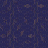 Vector seamless Memphis. Memphis seamless pattern 80s-90s-vector illustration. Geometric seamless pattern of cubes with different geometrical patterns. Blue with vector illustration