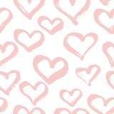 Vector seamless modern heart pattern. Trendy ink hand drawn illu Stock Photos