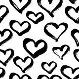 Vector seamless modern heart pattern. Trendy ink hand drawn illu Royalty Free Stock Images