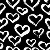 Vector seamless modern heart pattern. Trendy ink hand drawn illu Stock Images