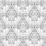 Vector Seamless Monochrome Damask Pattern. Hand Drawn Vintage Texture Royalty Free Stock Photography