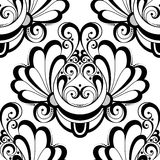 Vector Seamless Monochrome Damask Pattern Royalty Free Stock Image