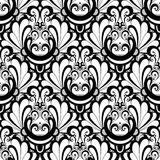Vector Seamless Monochrome Damask Pattern. Hand Drawn Vintage Texture Stock Images