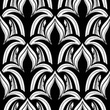 Vector Seamless Monochrome Damask Pattern. Hand Drawn Vintage Texture Stock Image