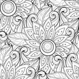 Vector Seamless Monochrome Floral Pattern Royalty Free Stock Image