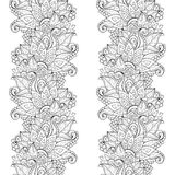 Vector Seamless Monochrome Floral Pattern Royalty Free Stock Images