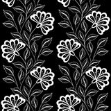 Vector Seamless Monochrome Floral Pattern Stock Photography