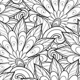 Vector Seamless Monochrome Floral Pattern Stock Photos