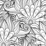 Vector Seamless Monochrome Floral Pattern. Hand Drawn Floral Texture, Decorative Flowers, Coloring Book Royalty Free Stock Photo
