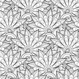 Vector Seamless Monochrome Floral Pattern. Hand Drawn Floral Texture, Decorative Flowers, Coloring Book Stock Image
