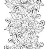 Vector Seamless Monochrome Floral Pattern. Hand Drawn Floral Texture, Decorative Flowers, Coloring Book Stock Images