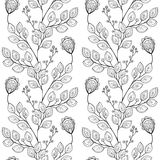 Vector Seamless Monochrome Floral Pattern Royalty Free Stock Photos