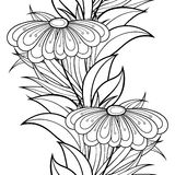Vector Seamless Monochrome Floral Pattern. Hand Drawn Floral Texture, Decorative Flowers, Coloring Book Royalty Free Stock Photos