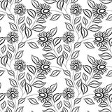 Vector Seamless Monochrome Floral Pattern Royalty Free Stock Photo