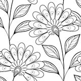 Vector Seamless Monochrome Floral Pattern Stock Image