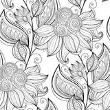 Vector Seamless Monochrome Floral Pattern Stock Photo