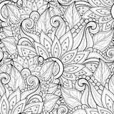Vector Seamless Monochrome Floral Pattern Royalty Free Stock Photography