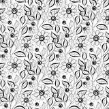 Vector Seamless Monochrome Floral Pattern Stock Images