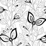 Vector Seamless Monochrome Floral Pattern. Hand Drawn Floral Texture, Decorative Flowers, Coloring Book Royalty Free Stock Photography