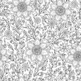 Vector Seamless Monochrome Floral Pattern. Royalty Free Stock Images